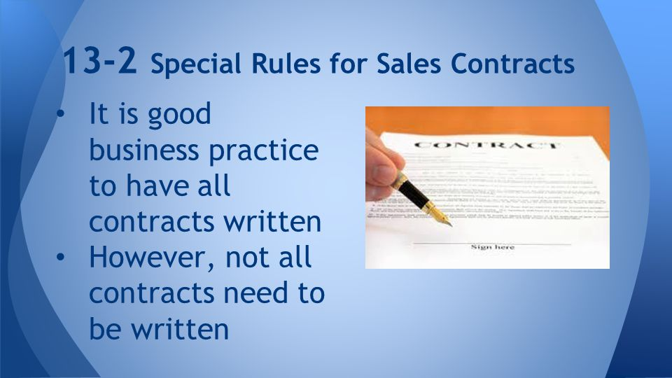 13-2 Special Rules for Sales Contracts