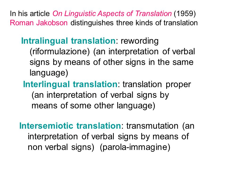 In his article On Linguistic Aspects of Translation (1959) Roman Jakobson distinguishes three kinds of translation