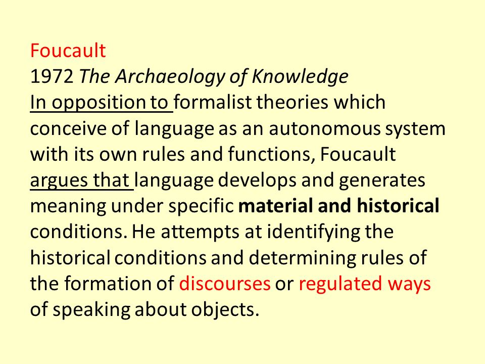 Foucault 1972 The Archaeology of Knowledge.
