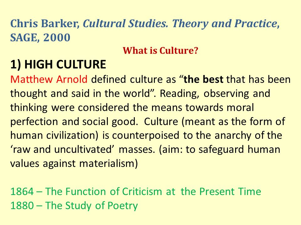Chris Barker, Cultural Studies. Theory and Practice, SAGE, 2000