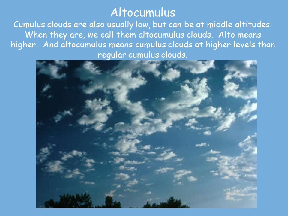 Altocumulus Cumulus clouds are also usually low, but can be at middle altitudes.