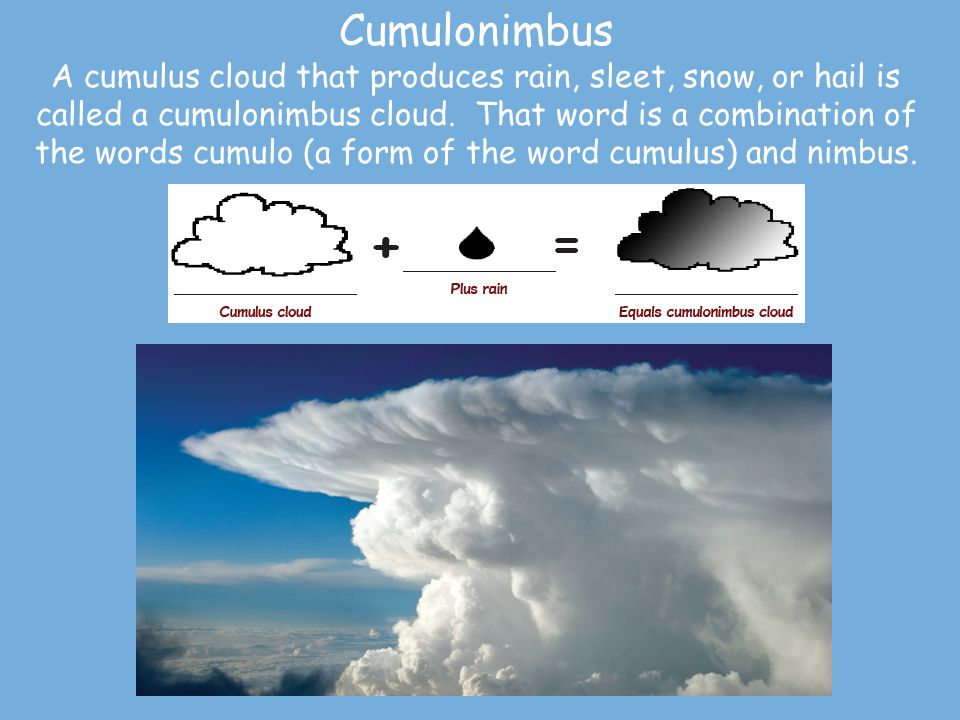 Cumulonimbus A cumulus cloud that produces rain, sleet, snow, or hail is called a cumulonimbus cloud.