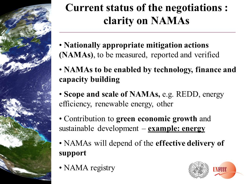Current status of the negotiations : clarity on NAMAs