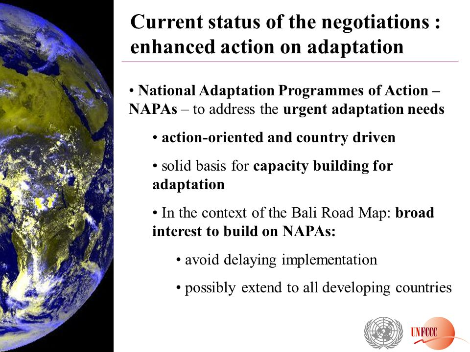 Current status of the negotiations : enhanced action on adaptation