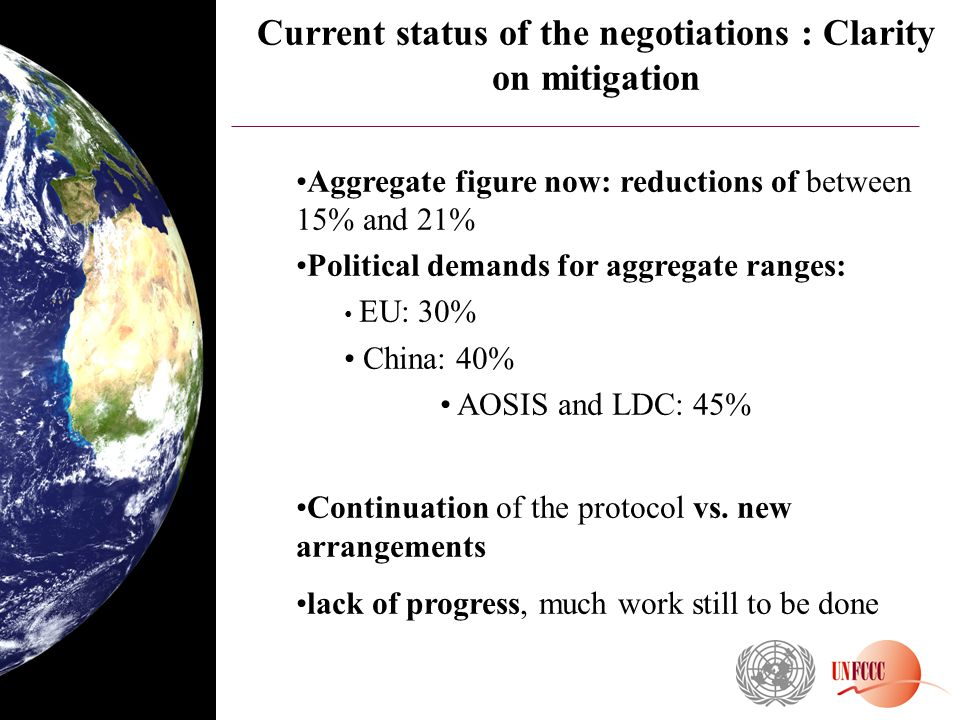Current status of the negotiations : Clarity on mitigation