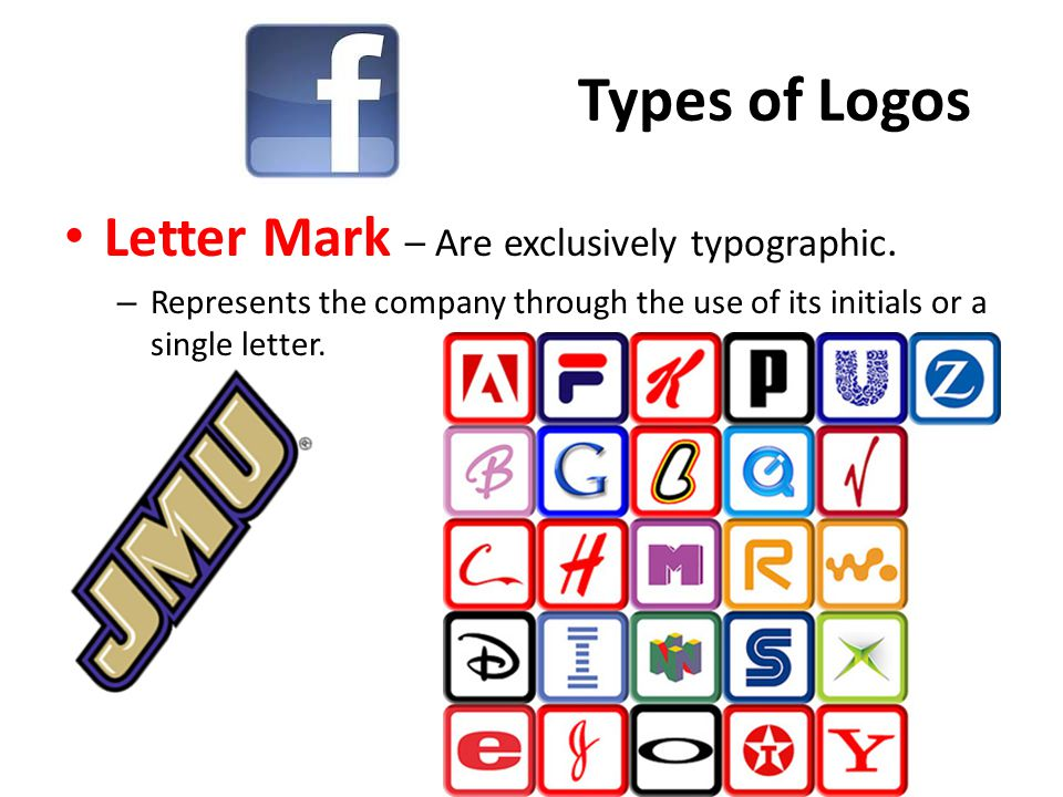 Types of Logos Letter Mark – Are exclusively typographic.