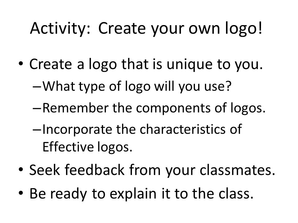 Activity: Create your own logo!