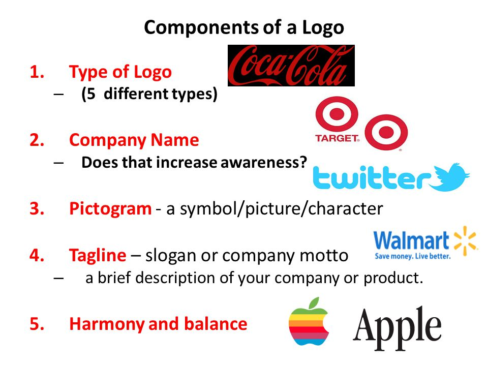 Components of a Logo Type of Logo Company Name