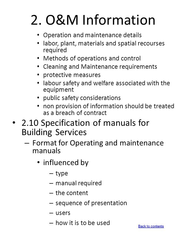 building handover documents ppt download rh slideplayer com Operations and Maintenance Manual for Lab Safety Operation and Maintenance Manual Template