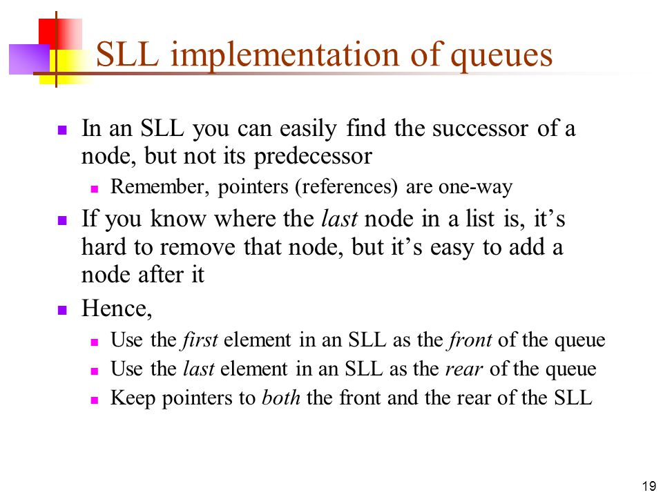 SLL implementation of queues