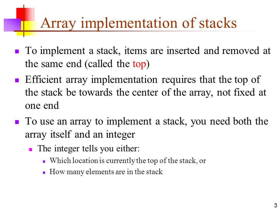 Array implementation of stacks