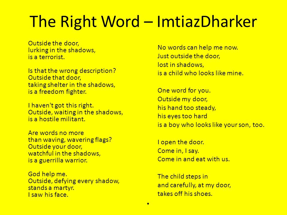 imtiaz dharker the right word