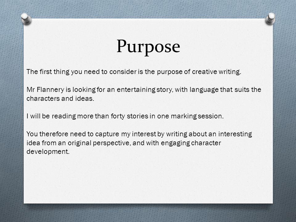 Purpose of creative writing free dissertation topics