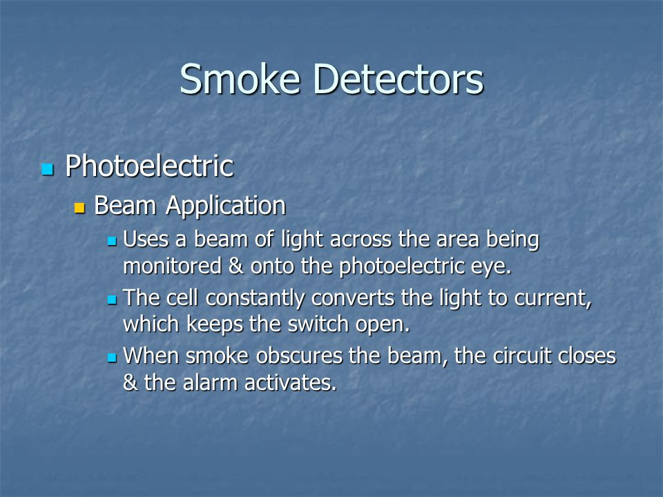 Smoke Detectors Photoelectric Beam Application