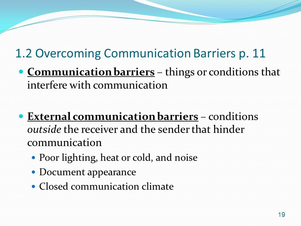 1.2 Overcoming Communication Barriers p. 11