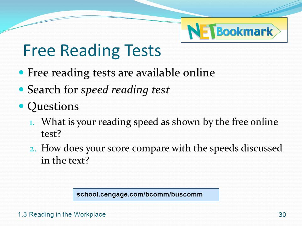Free Reading Tests Free reading tests are available online