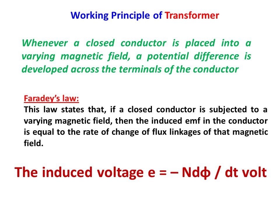 The induced voltage e = – Ndφ / dt volt