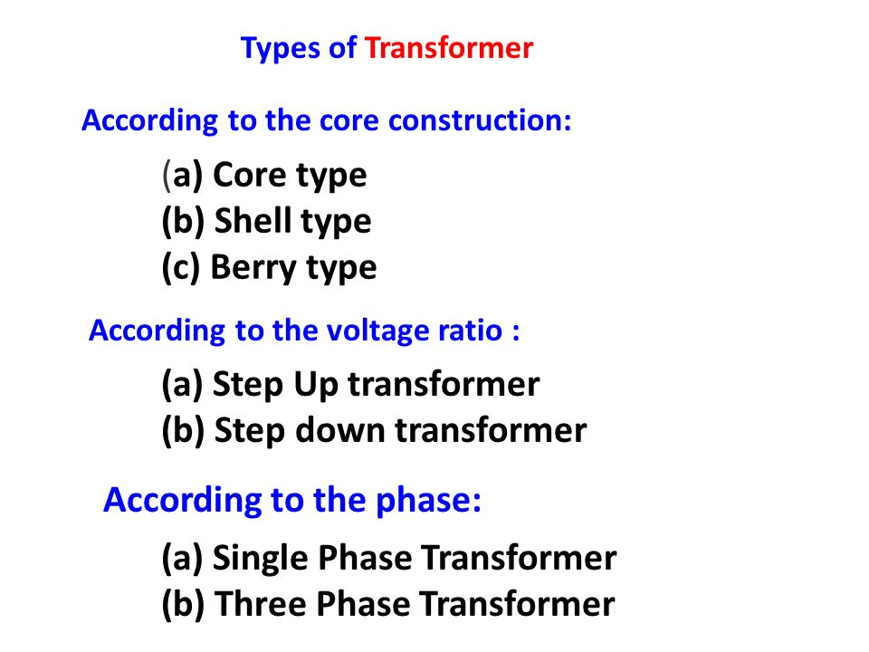 (a) Step Up transformer (b) Step down transformer
