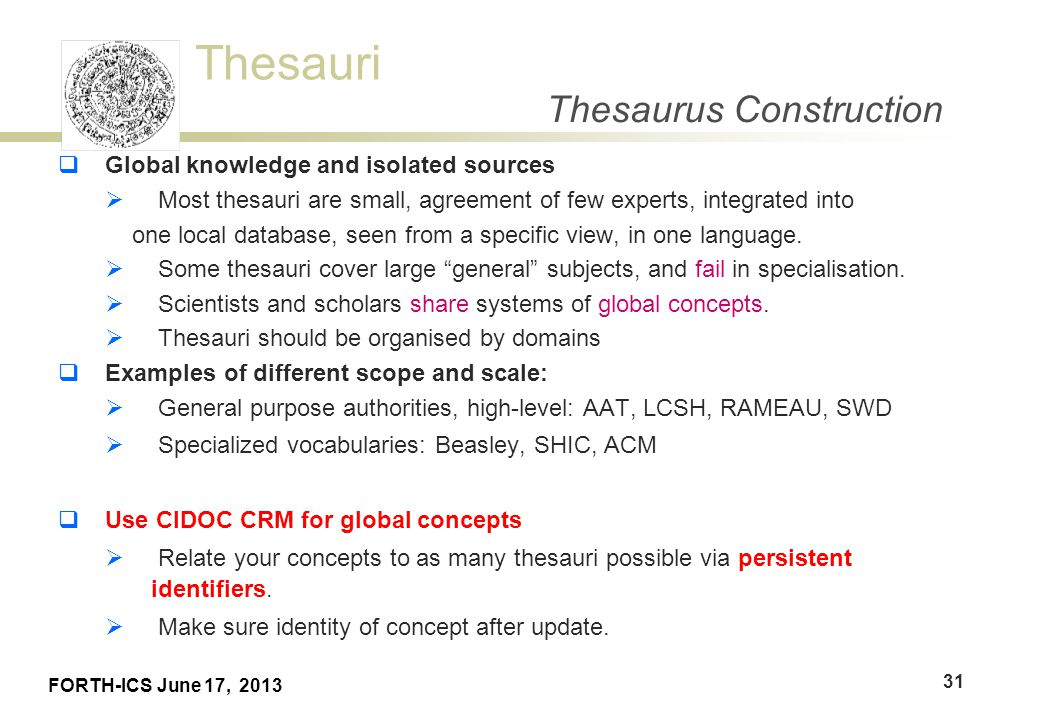 Thesaurus Building Martin Doerr Athens June 17 Ppt Download