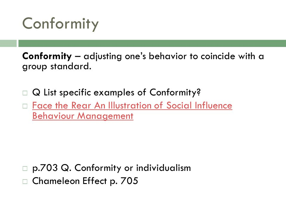 social biases and influences of conformity and obedience Conformity is a type of social influence involving a change in belief or behavior in order to fit in with a group this change is in response to real (involving the physical presence of others) or imagined (involving the pressure of social norms / expectations) group pressure.