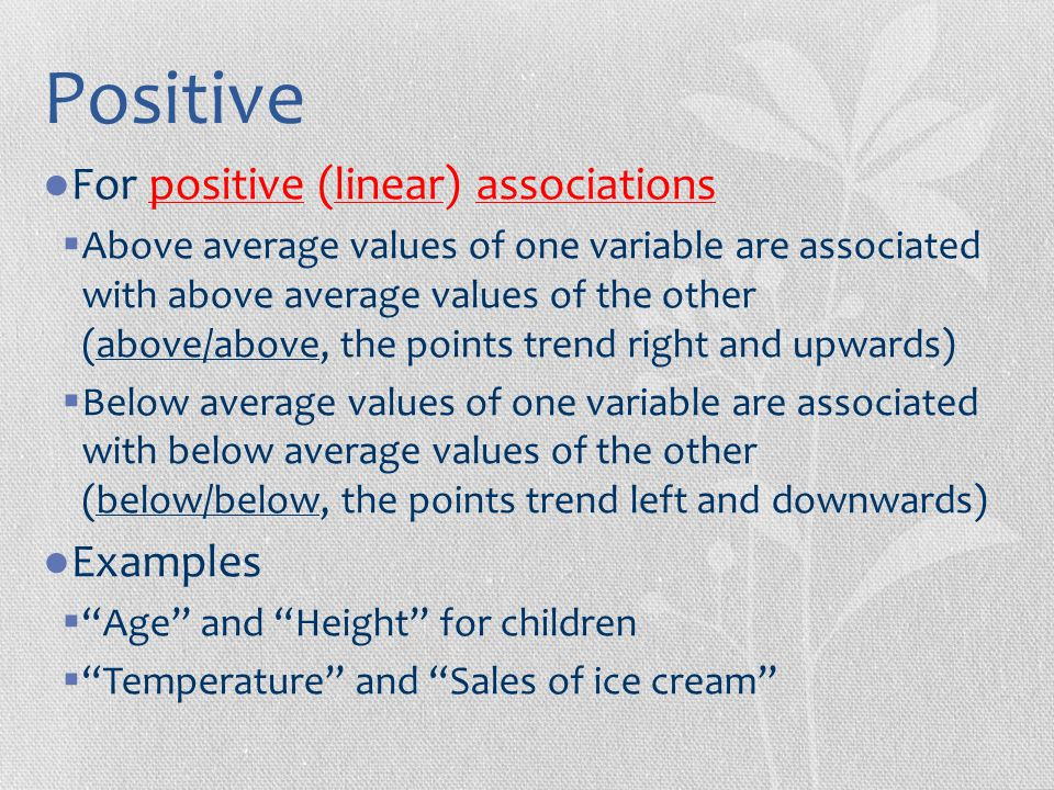 Positive For positive (linear) associations Examples