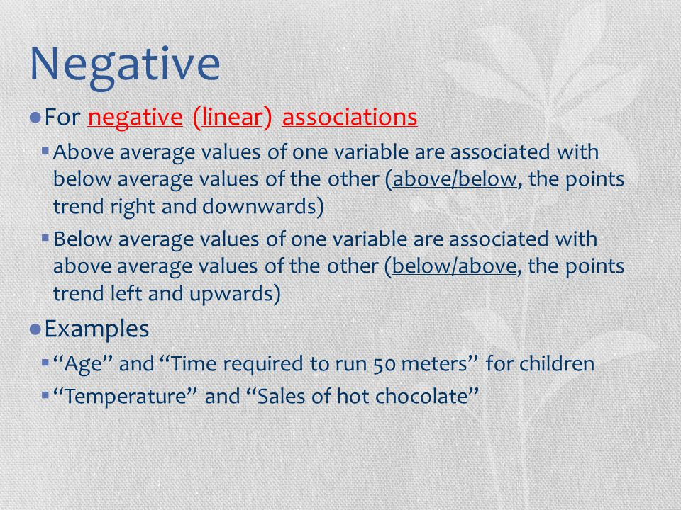 Negative For negative (linear) associations Examples