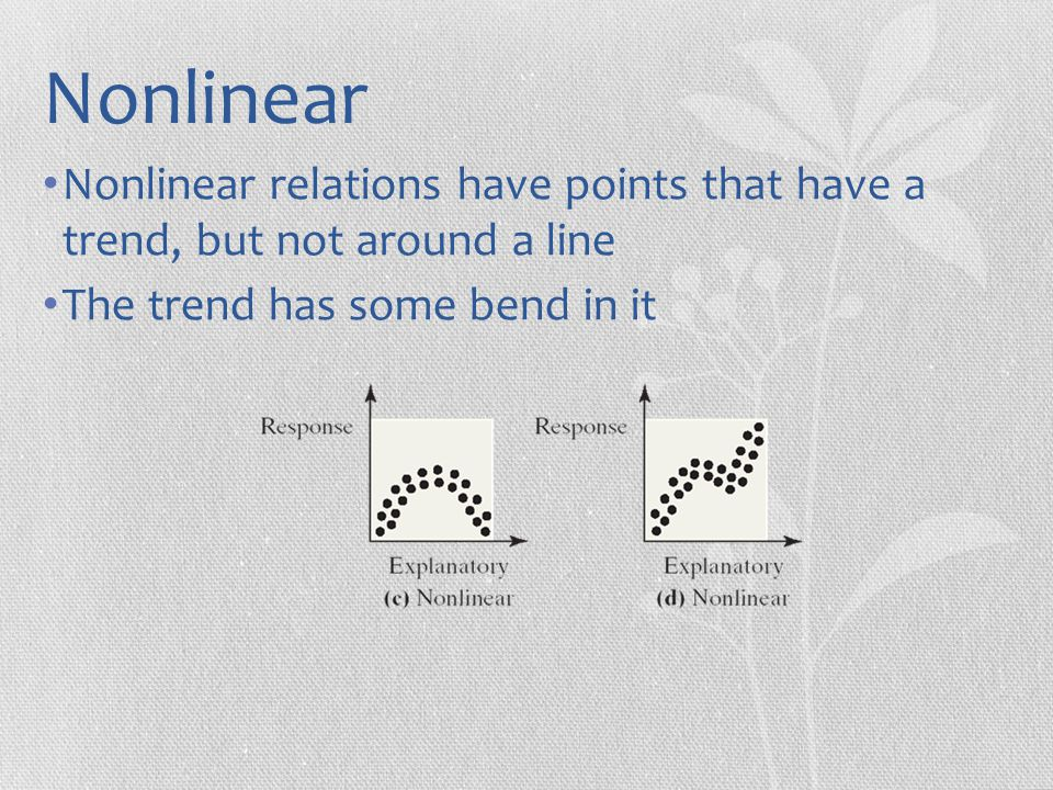 Nonlinear Nonlinear relations have points that have a trend, but not around a line.