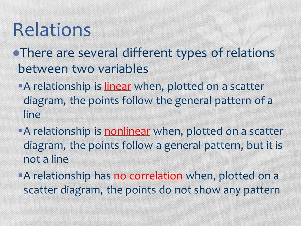 Relations There are several different types of relations between two variables.