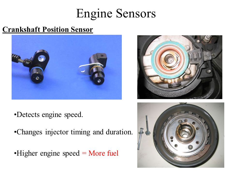 Engine Sensors Crankshaft Position Sensor Detects engine speed.