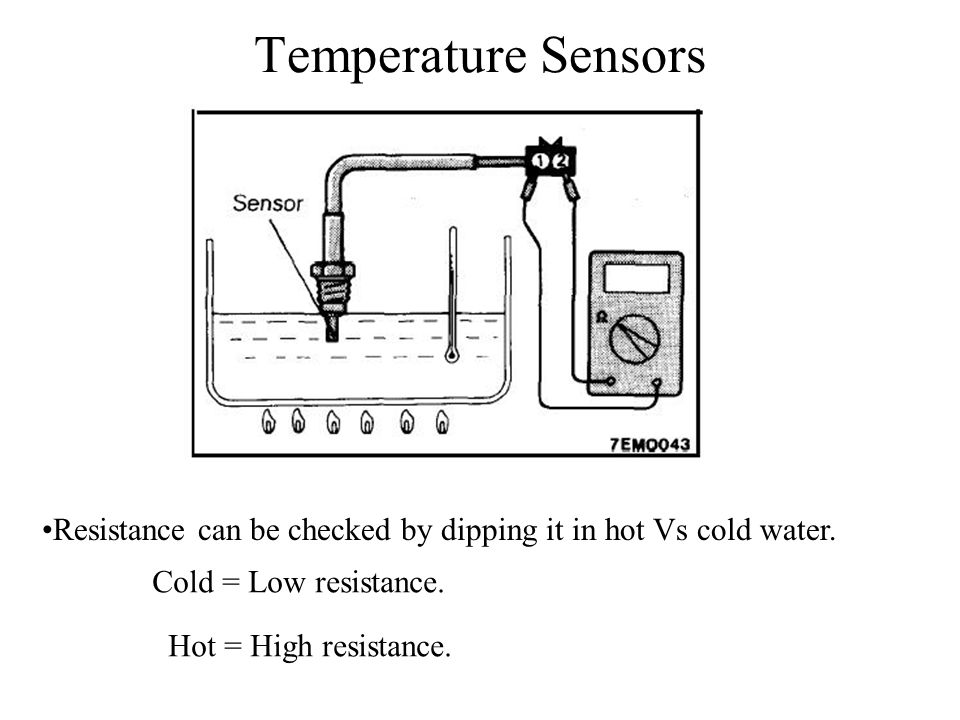 Temperature Sensors Resistance can be checked by dipping it in hot Vs cold water. Cold = Low resistance.