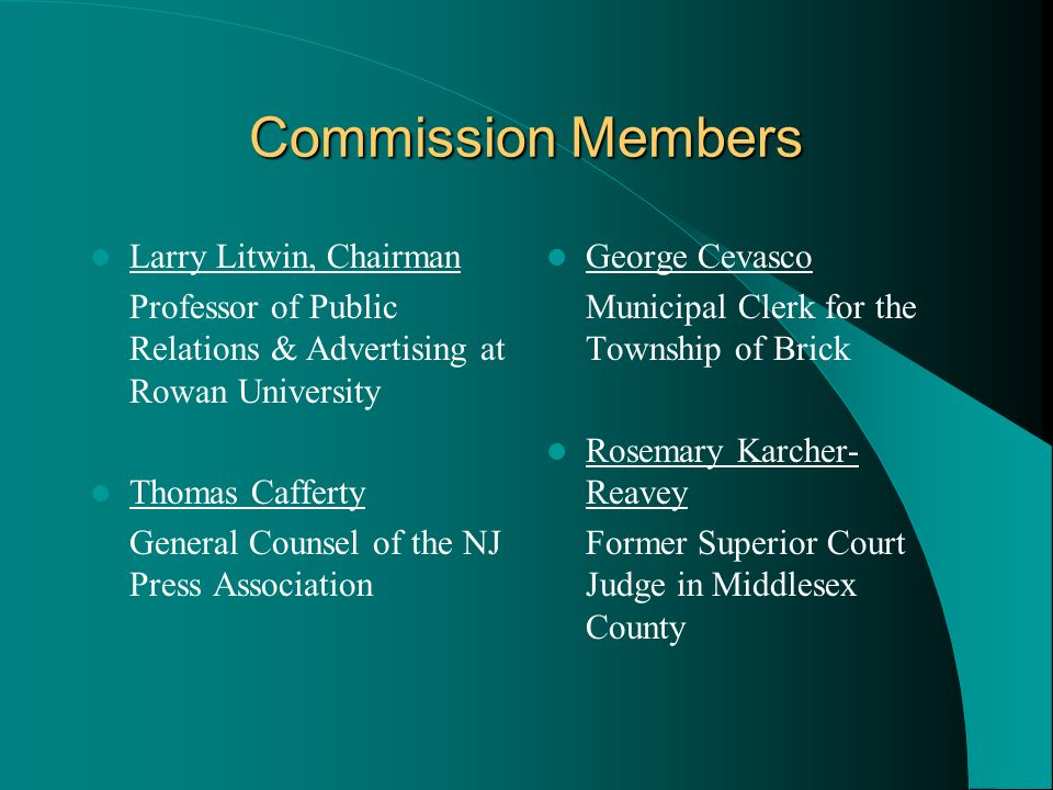 Commission Members Larry Litwin, Chairman