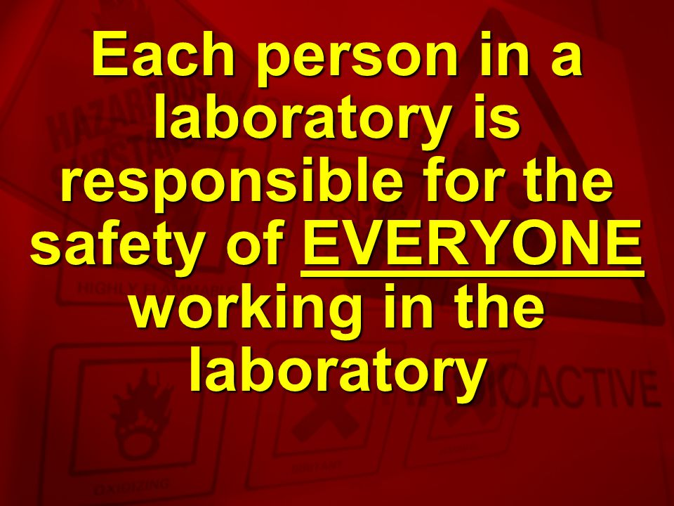 Each person in a laboratory is responsible for the safety of EVERYONE working in the laboratory