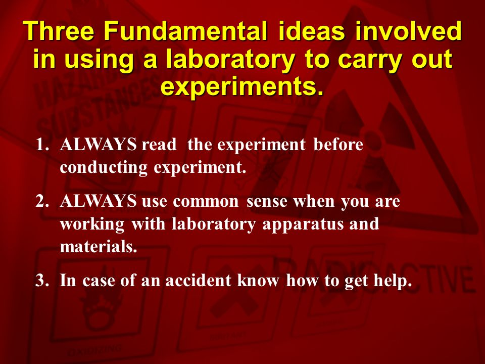 Three Fundamental ideas involved in using a laboratory to carry out experiments.