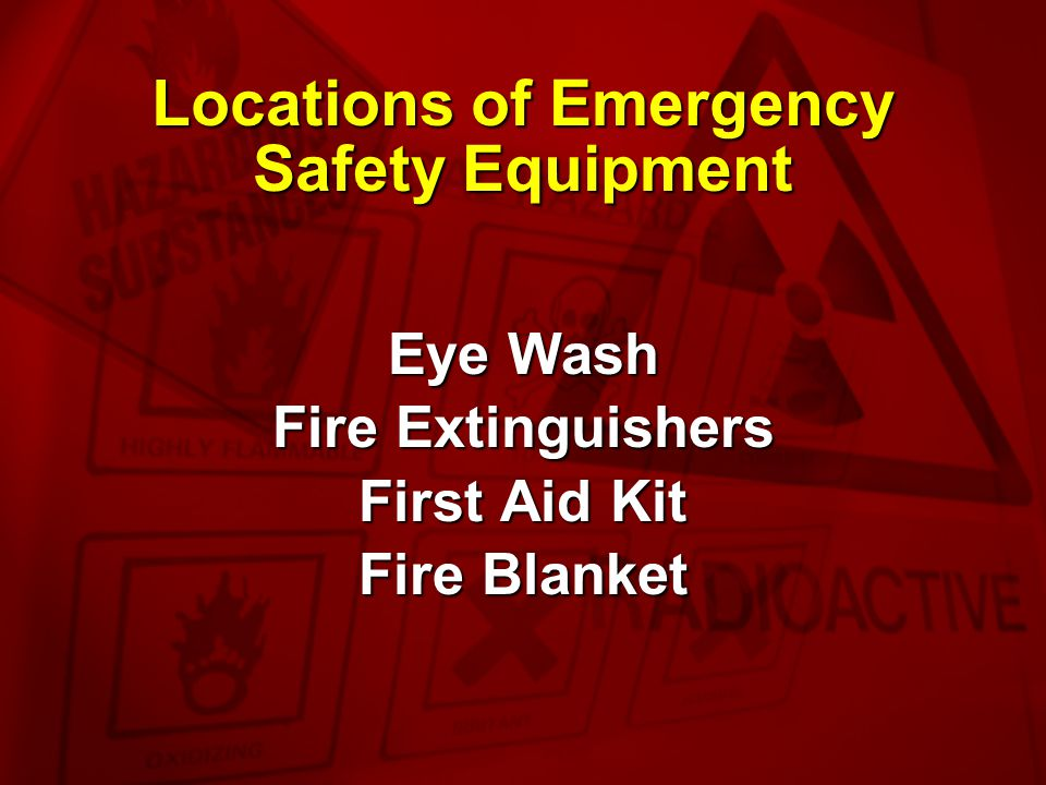 Locations of Emergency Safety Equipment