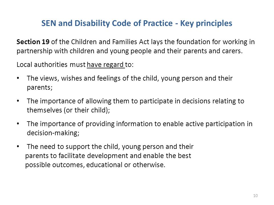 SEN and Disability Code of Practice - Key principles