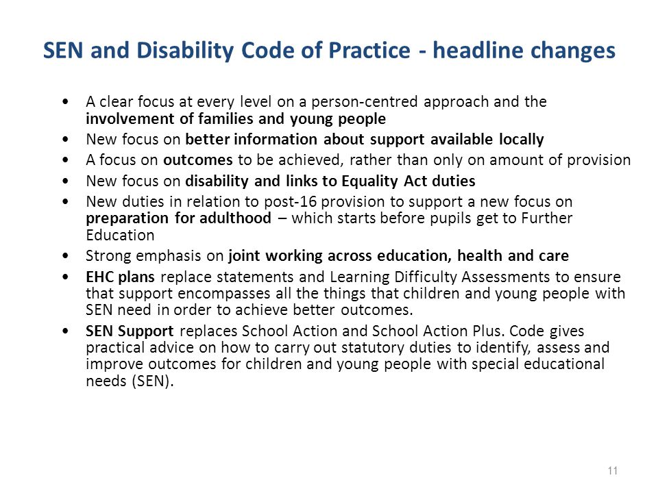 SEN and Disability Code of Practice - headline changes