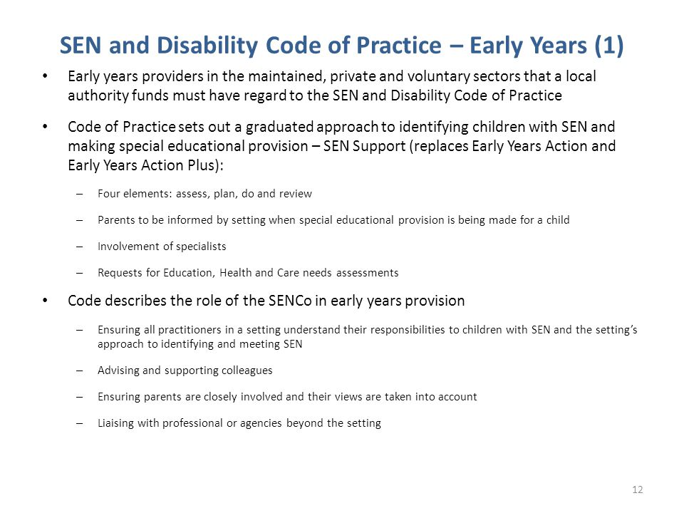 SEN and Disability Code of Practice – Early Years (1)