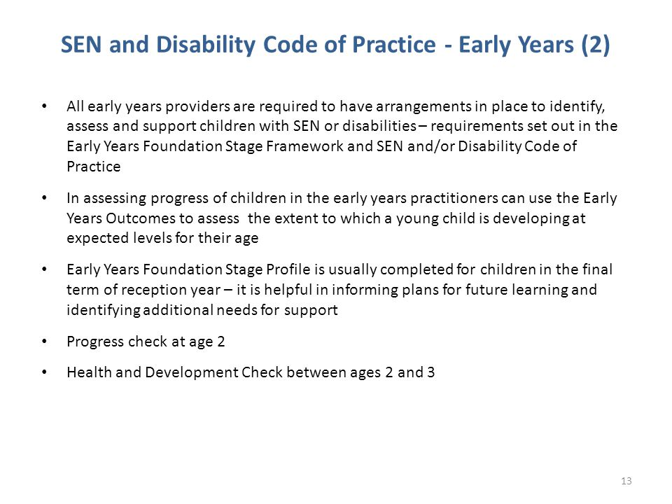 SEN and Disability Code of Practice - Early Years (2)