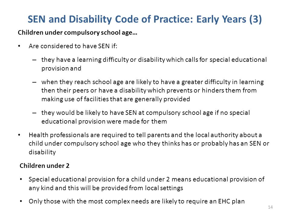 SEN and Disability Code of Practice: Early Years (3)