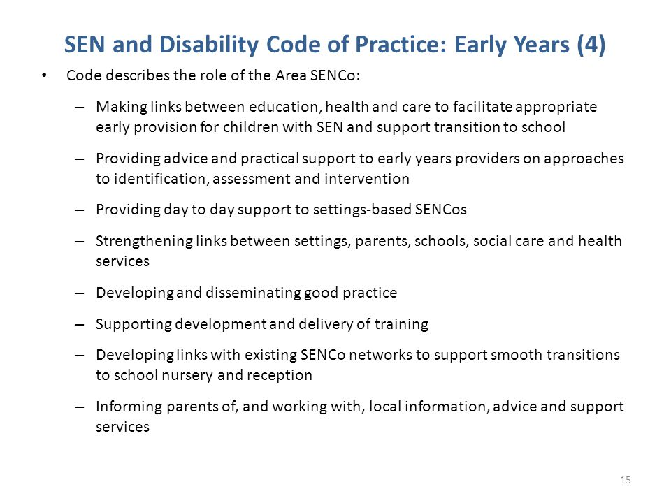 SEN and Disability Code of Practice: Early Years (4)