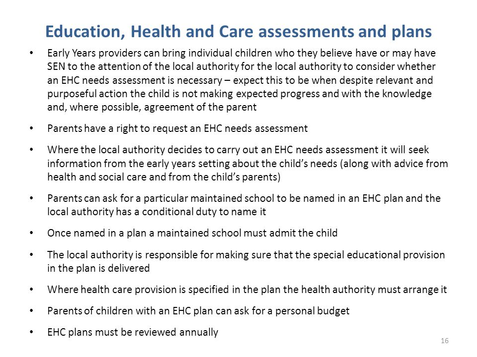 Education, Health and Care assessments and plans