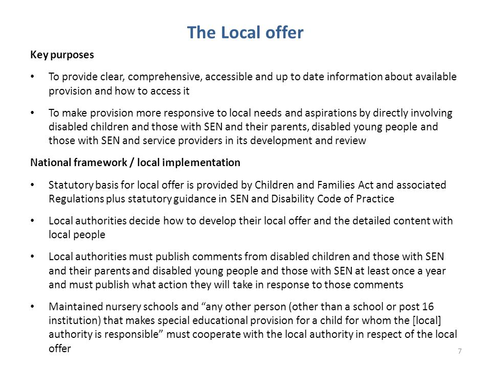 The Local offer Key purposes