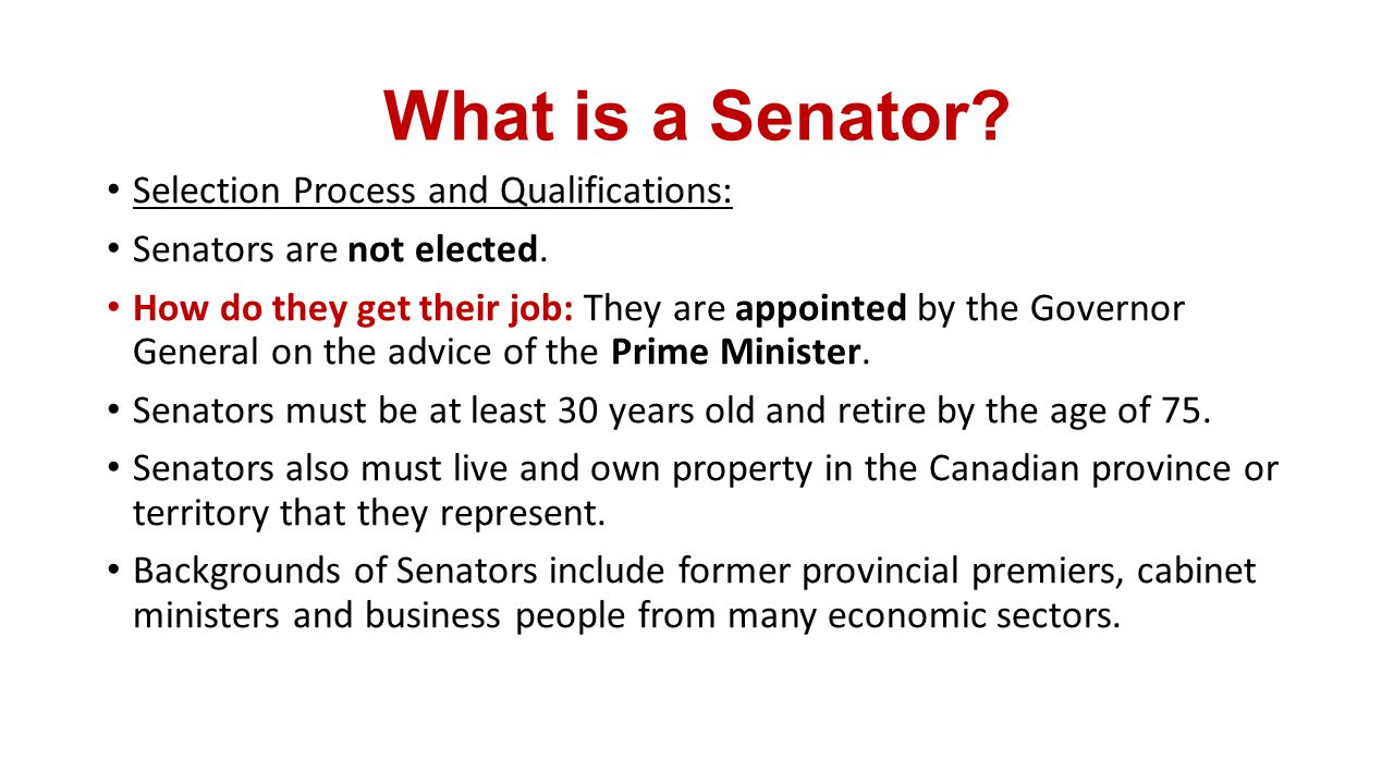 how to get appointed a senator in canada