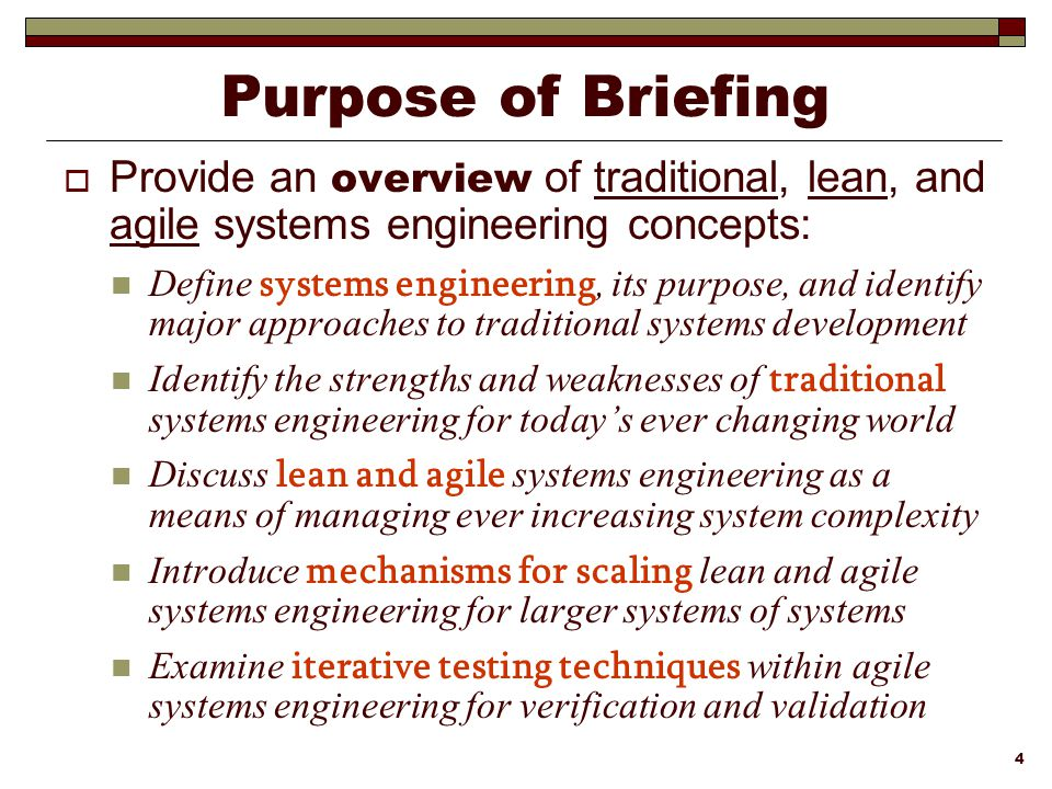 Lean agile systems engineering ppt download purpose of briefing provide an overview of traditional lean and agile systems engineering concepts fandeluxe Gallery