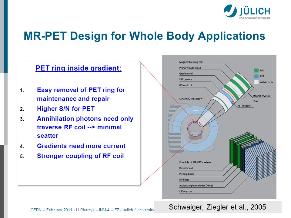 MR-PET Design for Whole Body Applications