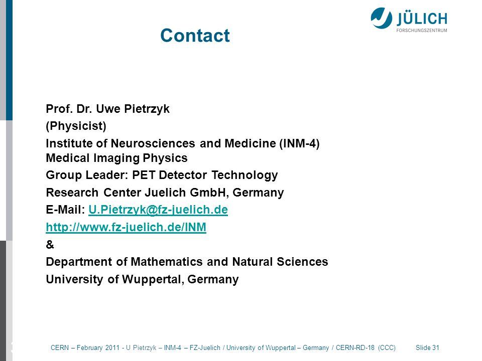 Contact 31 Prof. Dr. Uwe Pietrzyk (Physicist)