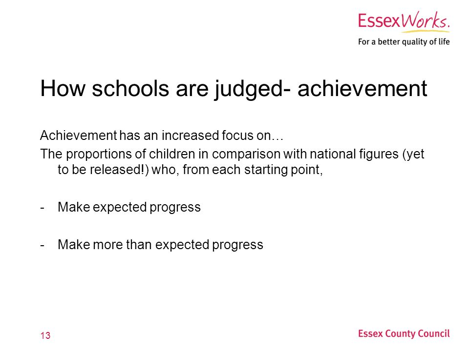 How schools are judged- achievement