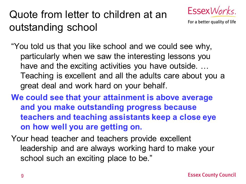 Quote from letter to children at an outstanding school