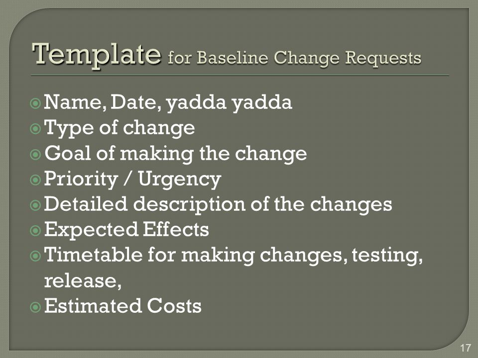Template for Baseline Change Requests