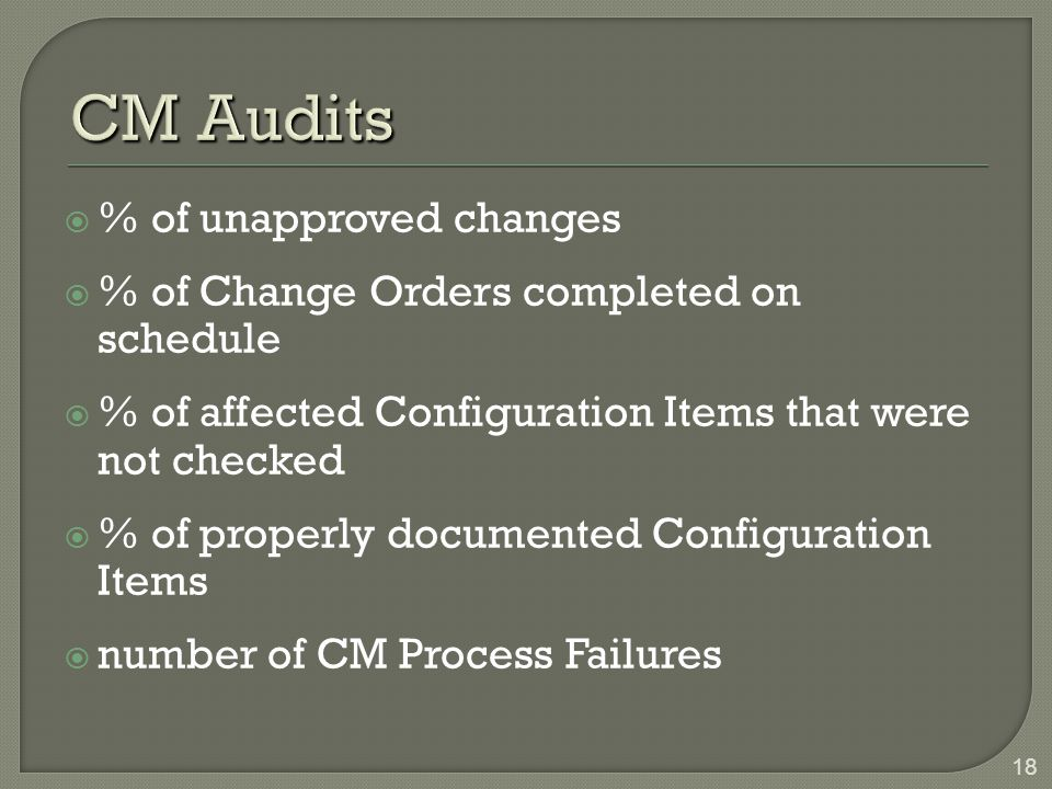 CM Audits % of unapproved changes